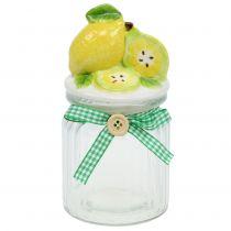 Opbevaringskrukke med låg på citron 15,5 cm