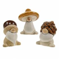 Keramik figur sæt skovnisser efterårsfrugter 6 - 6,3 cm brun / gul 3 stk