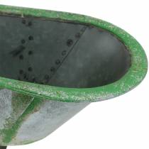 Dekorativt karbadmetal brugt sølv, grøn 44,5 cm x 18,5 cm x 15,3 cm