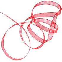 Julebånd rød med snefnug 10mm 20m
