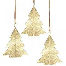 Juletræ metal guld 8x10cm til ophængning af 3stk.
