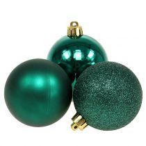 Julekugle smaragdgrøn blanding Ø6cm 10stk