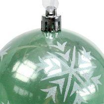 Julekugle Ø8cm lysegrøn plast 1 stk