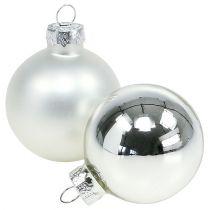 Julekugleglas Ø6cm sølvblanding 24stk