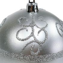 Julekugle sølv Ø8cm plast 1 stk