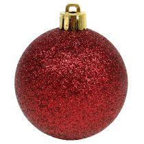 Julekugle rubinrød blanding Ø6cm 10stk