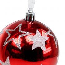 Julekugler med stjerner i rød 2 stk Ø8cm
