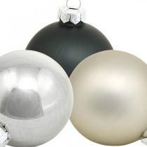 Mini julekugle, trædekorationsblanding, adventsdekoration sort / sølv / perlemor H4,5cm Ø4cm ægte glas 24stk.