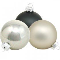 Trækugle, juletræspynt, julekugle sort / sølv / perlemor H8,5cm Ø7,5cm ægte glas 12stk.