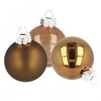 Juletræspynt, trækugler, juledekorationer brun H8,5cm Ø7,5cm ægte glas 12stk