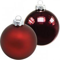Julekugler, juletræspynt, glaskugler vinrød H8,5cm Ø7,5cm ægte glas 12stk
