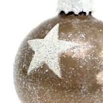 Julekugleglas med stjernemønster lysebrun Ø6cm 6stk