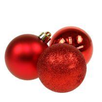 Julekugle plast rød 6 cm 10stk