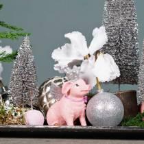 Julekugle plast sølv 6cm 10stk