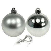 Julekugleplast Ø6cm sølvblanding 12stk