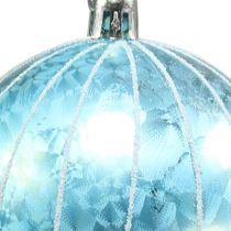Julekugle plast blå-turkis Ø8cm 2stk