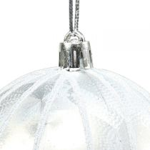 Julekugle plast hvid Ø8cm 2stk