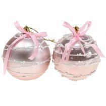 Julekugle pink med bue Ø8cm 2stk