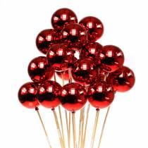 Julekugle på pind Ø6cm rød 18stk