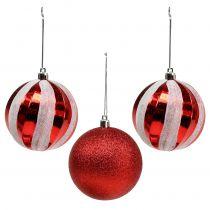 Juletræbolde lavet af plast rød, hvid Ø8cm 3stk