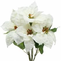 Julestjerne buket hvid 52cm