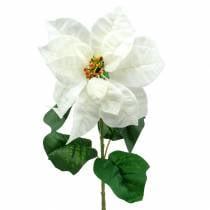 Poinsettia kunstig blomst hvid 67cm