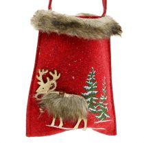 Julepose rød med pels 15,5cm x 18cm 3stk