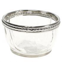 Tealight glas antik med metalkant Ø7cm H4cm