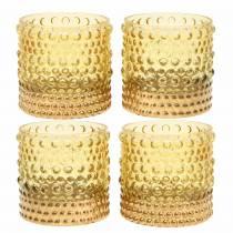 Lykte lavet af glas gul, guld Ø8.5cm H8cm 4stk