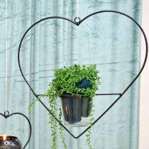 Vindlys hjertemetal 28 cm fyrfadslysholder til hængende glas 9 cm