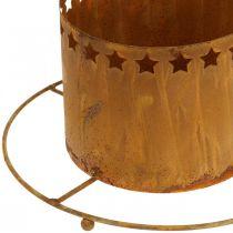 Lanterne med stjerner, advent, kranseholder af metal, juledekoration rustfrit stål Ø25cm