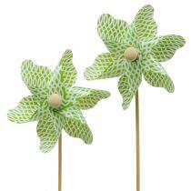 Vindmølle Mini Grøn-Hvid Ø9cm 12stk
