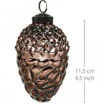Kegler at hænge, trædekorationer, ægte glas, efterårsdekorationer, antik optik Ø7cm H11,5cm 6stk.