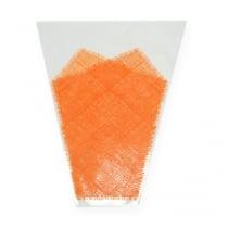 Blomstertaske jute mønster orange L40cm W12-30 50p