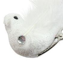 Dekorativ fugl på klemmen med glitter hvid 14 cm 2stk