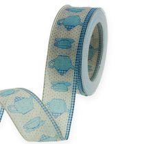 Dekorativt bånd med trådblå 40mm 20m