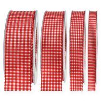 Gavebånd med 20 cm rød rutet selvedge