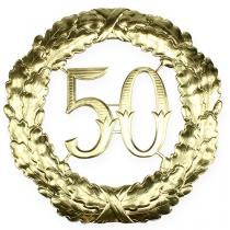Jubilæum nummer 50 i guld Ø40cm