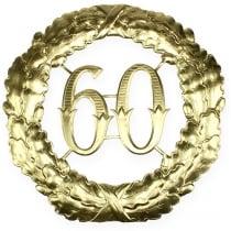 Jubilæum nummer 60 i guld Ø40cm