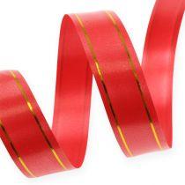 Gavebånd 2 guldstrimler på røde 19mm 100m