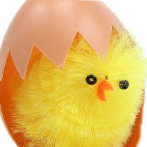 Chenille kylling 6,5 cm i æggegul 4stk