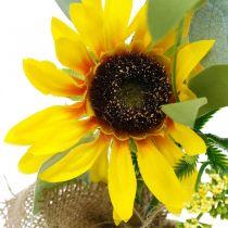Kunstig solsikke, silkeblomst, sommerdekoration, solsikke i jutesæk