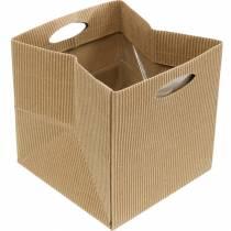 Papirpose 12cm brun, creme, beige planter gavepose 12stk