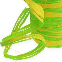 Raffia tape bicolor grøn-gul 200m