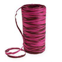 Raffia bånd bicolor lyserød-brun 200m