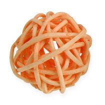 Rattan kugle orange, abrikos, bleget 72stk