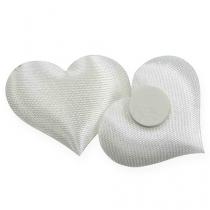 Spredning dekoration stof hjerter hvid 28x32mm 100p