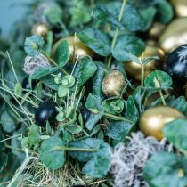 Vagtelægdekoration sort tom 3cm forårsdekoration naturlig dekoration 50p