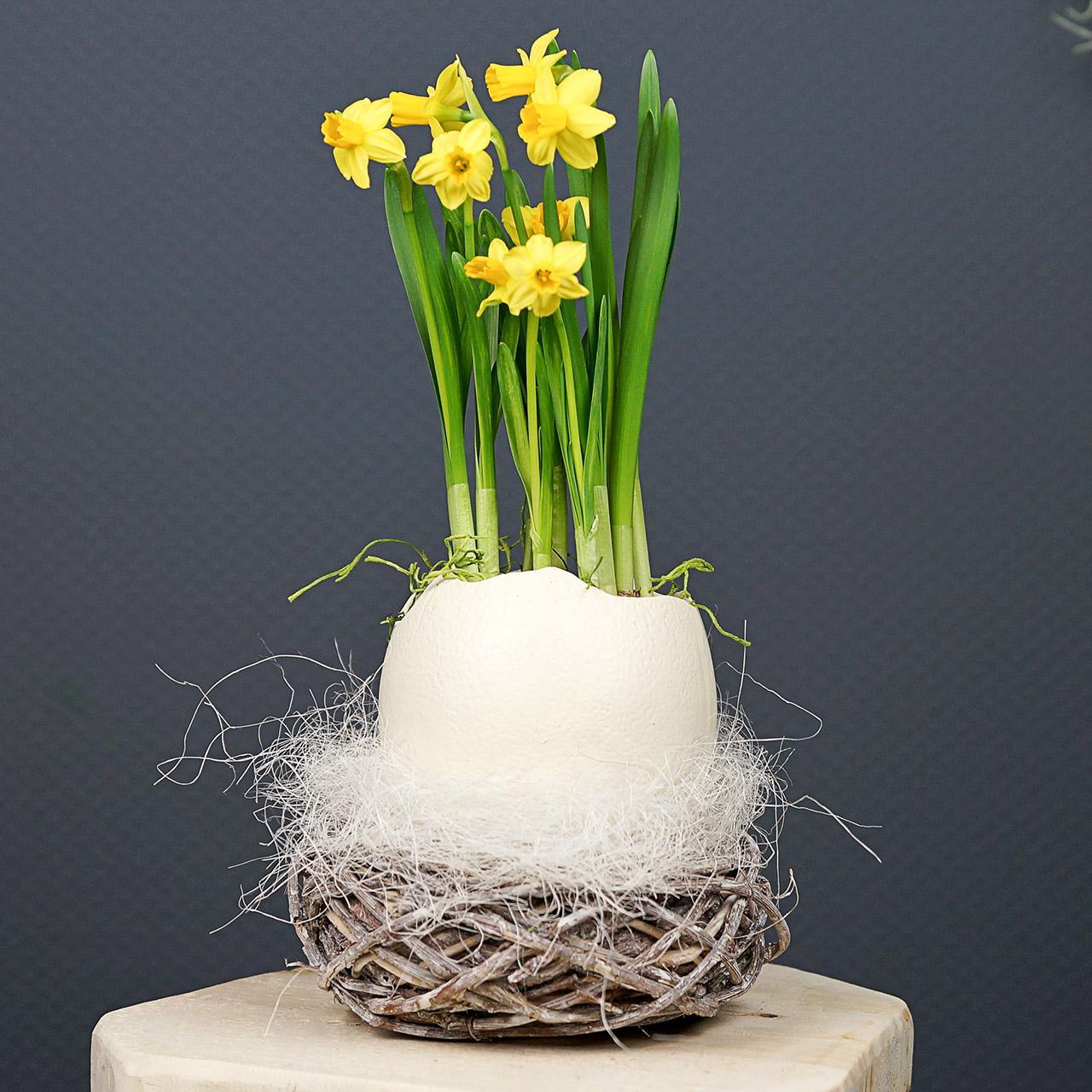Påskekurv lavet af kviste, naturlig, vasket hvid Ø13cm 3stk