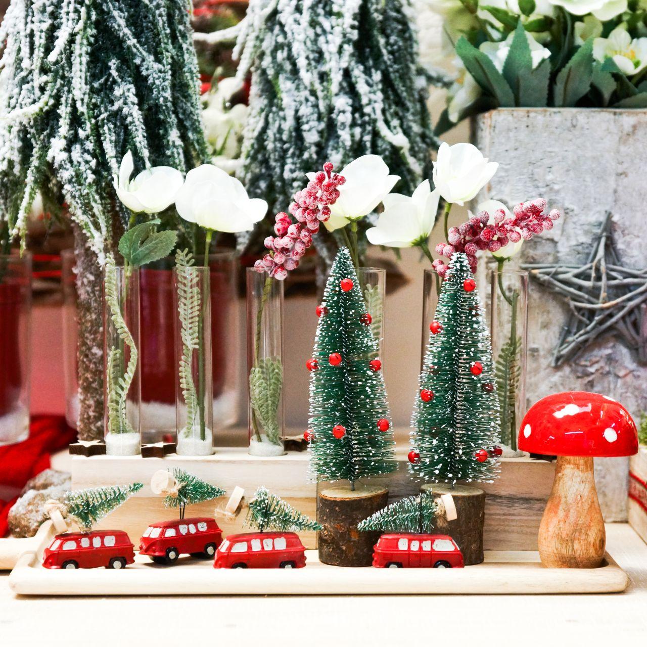 Juletrædekorationsbil med granrød / grøn 2stk